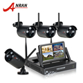 """Mais novo anran plug & play sem fio 4ch sistema de vigilância câmera de 7 """"LCD Kit NVR 1 TB HDD P2P 720 P HD IR Ao Ar Livre WI-FI Câmera de CFTV IP"""