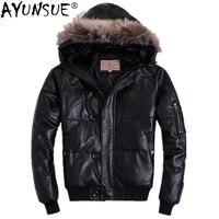 AYUNSUE мужской пуховик с капюшоном зимняя натуральная Короткая кожаная куртка из натуральной овчины мужская одежда Piumino Uomo AVIREXFLY KJ1148