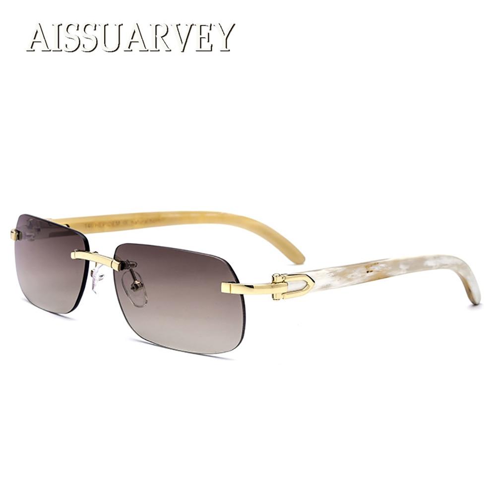 2018 High Quality Vintage Retro Rectangle Polarized Sunglasses for Man Fashion Brand Designer Luxury Rimless Horn Sun Glasses 2016 new fashion sunglasses women brand designer sun glasses vintage eyewear