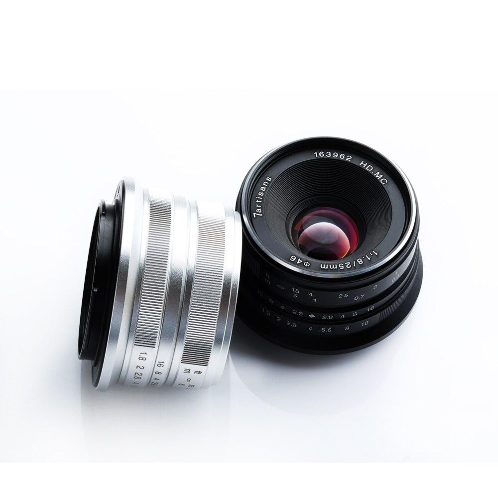 Objectif principal 7 artisans 25mm/F1.8 pour tous les supports Sony E/monture Canon EOS M série unique/montage Fuji FX/monture Olympus M43-in Objectifs pour appareil photo from Electronique    3