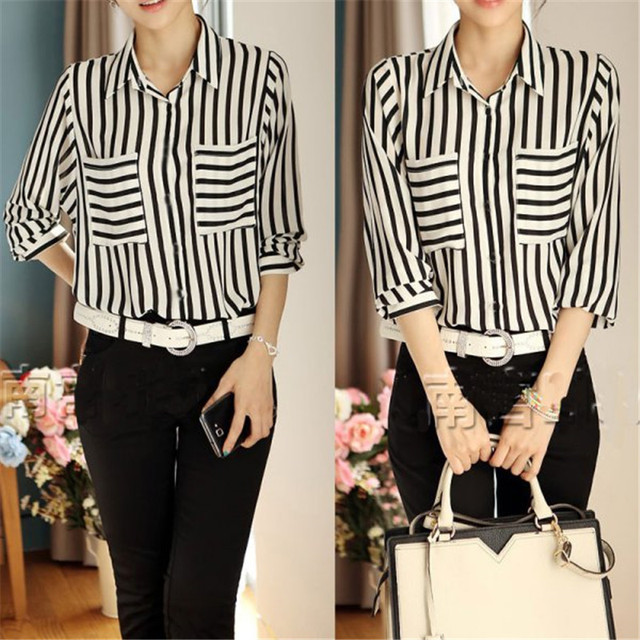 5476d2e1 2017 New Summer Formal blouses Hot Sell Black and white Vertical Striped  Women Long Sleeve Chiffon Tops Button Down Shirt Blous