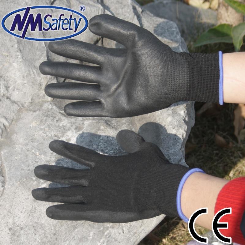 NMSAFETY 12 pairs PU wear-resistant nylon work gloves fashion handing glove nmsafety nitrile solvent gloves oil resistant slip resistant glove chemical work glove