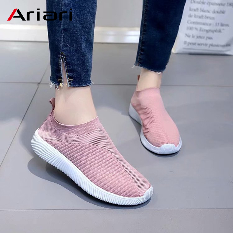 Ariari Women Sneakers Casual Platform Shoes Female Slip On Vulcanized Shoe Elastic Band Mesh Flyknit