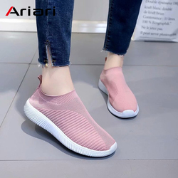 Ariari Women Sneakers Casual Platform Shoes Female Slip On Vulcanized Shoe Elastic Band Mesh Flyknit Spring Footwear For Ladies