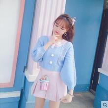 Милый свитер принцессы в стиле Лолиты; осенний корейский милый маленький вязаный свитер; пуловер; короткий свитер; KKQ101