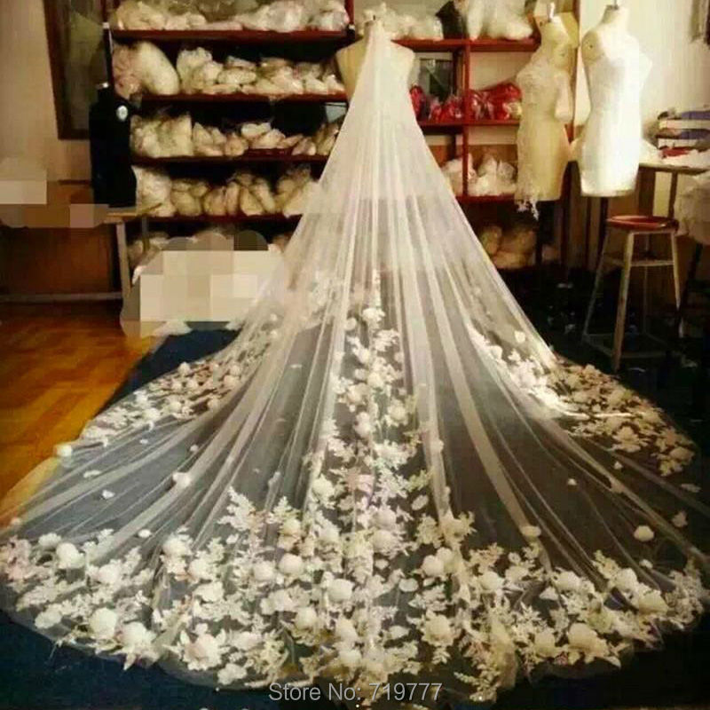 gorgeous 35m cathedral length lace long wedding veil wedding accessories veu noiva nice handmade flowers bridal viels with comb