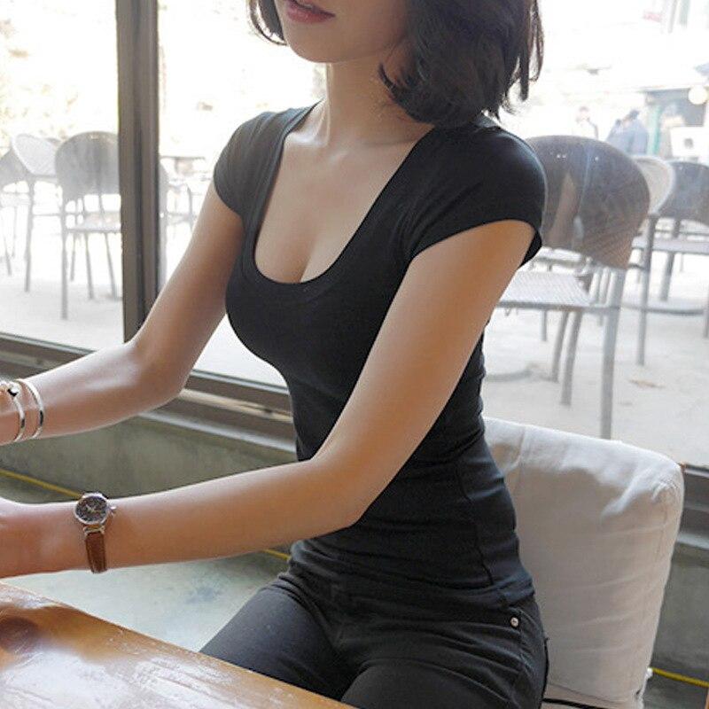 Tee Shirt Femme Basic მაისური ღრმა V-Neck Top - ქალის ტანსაცმელი - ფოტო 3