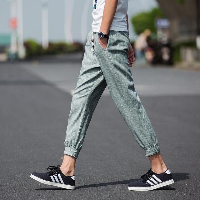 Мужские повседневные брюки льняные брюки, мужчины Летние свободные тонкий мужской хлопка брюки ноги Лодыжки Длина колготки мужские брюки
