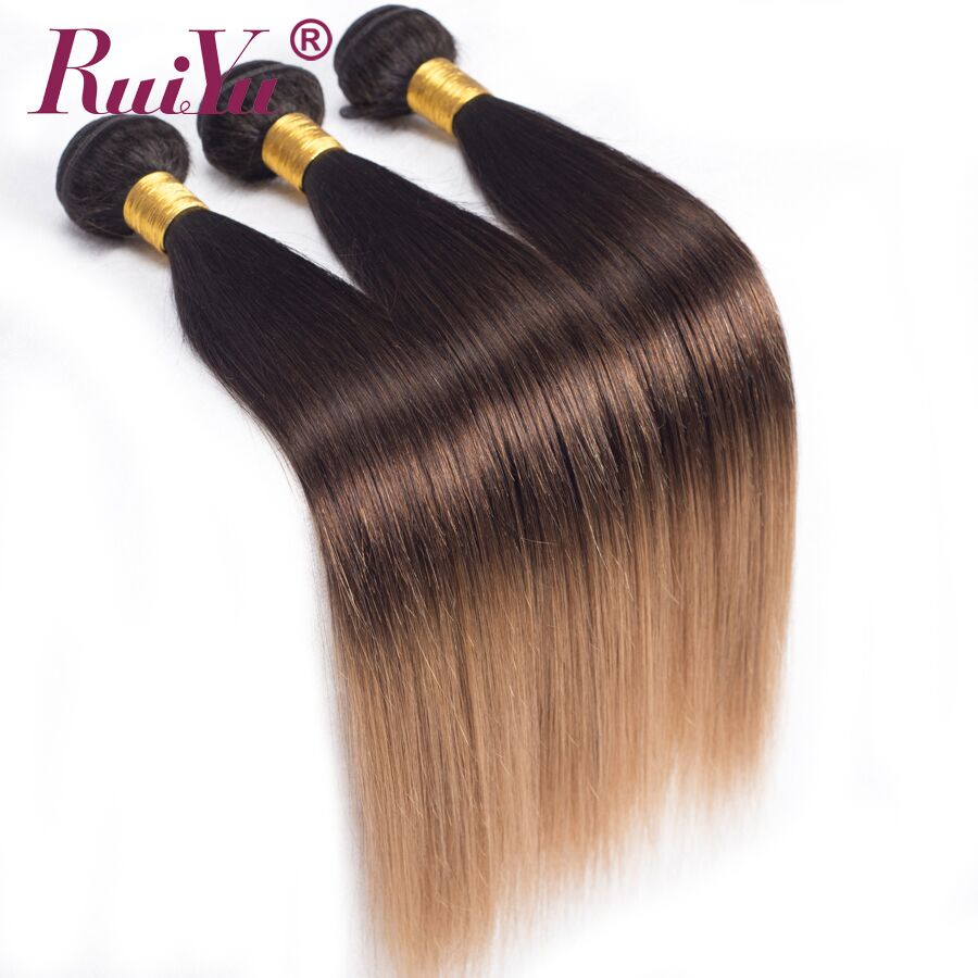 RUIYU Ombre Hair 1B 4 27 Brazilian Straight Hair Weave 3 Bundles 3 Tone Blonde Ombre