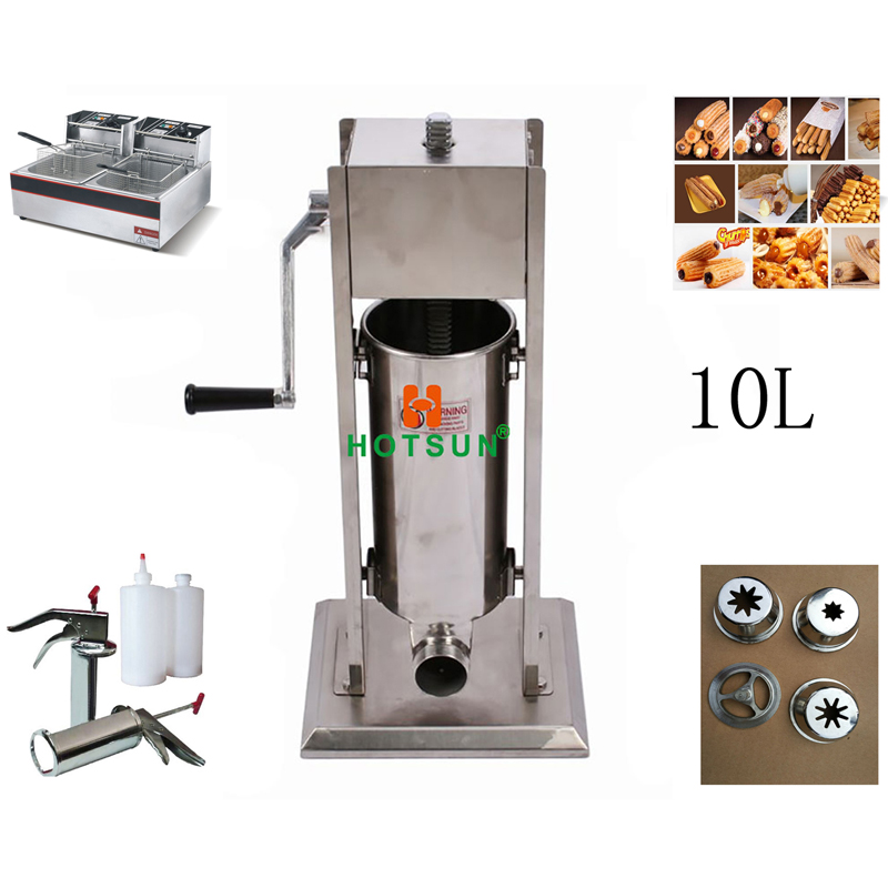 Free Shipping 10L Manual Spanish Donut Churros Machine W 12L Deep Fryer N 700ml Filler 12l automatic churros machine maker spanish snacks latin fruit machine