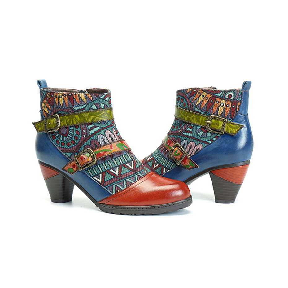 D Knight Brand Plus Size Women Ankle Boots Vintage Patchwork Female Short Boots Fashion Side Zip Print Buckle Lady Shoes Booties (8)