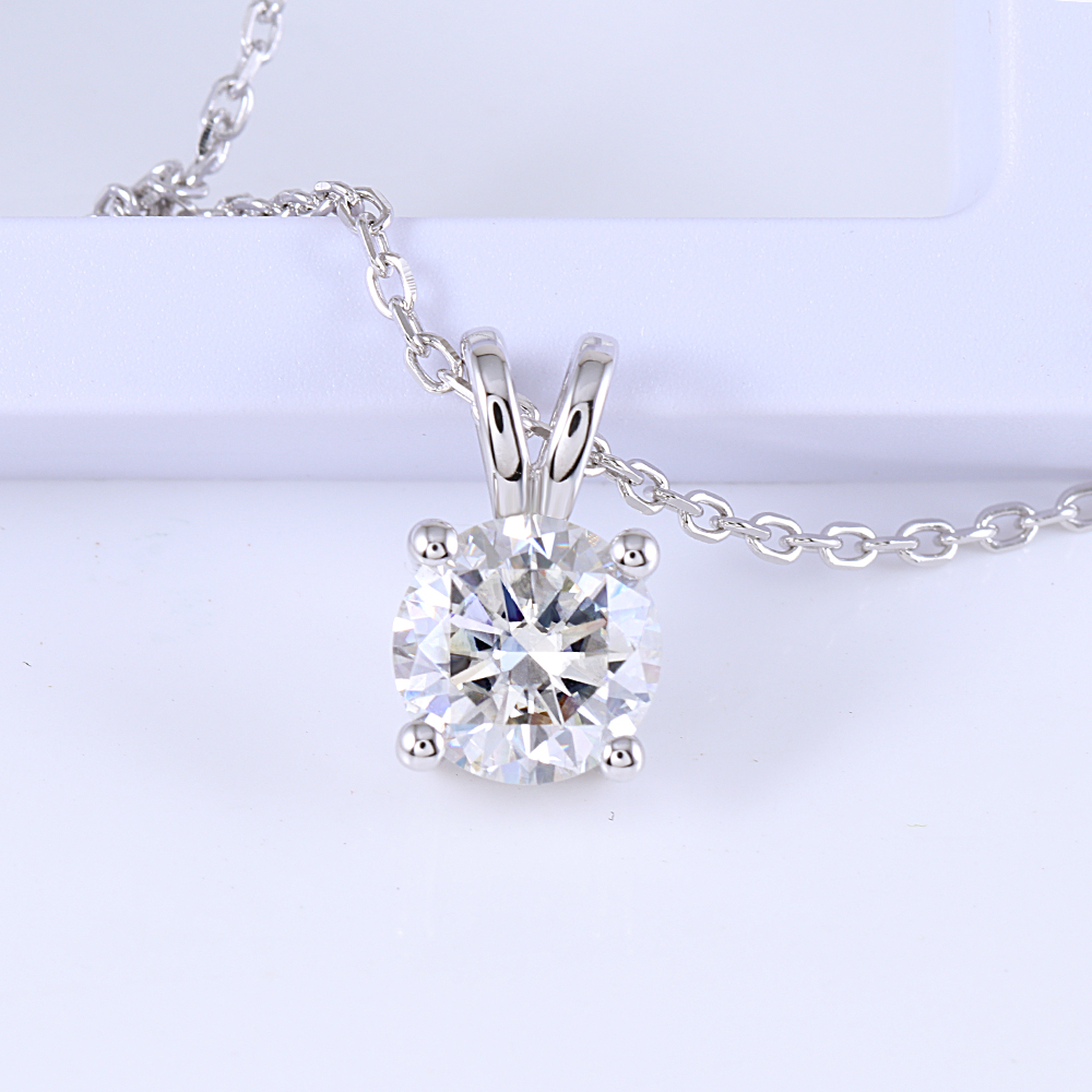 DovEggs Sterling Solid 925 Silver 2CTW 8mm GH color Lab Grown Moissanite Diamond Pendant Necklace for Women Daily Wear Jewelry in Necklaces from Jewelry Accessories