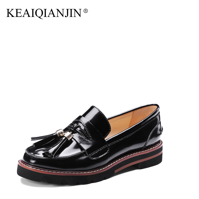 KEAIQIANJIN Woman Fringe Flats Patent Leather Spring Autumn Black Red White Loafers Shoes Genuine Leather Loafers Lazy Shoes keaiqianjin woman genuine leather brogue shoes spring autumn black white flats lace up genuine leather loafers lazy shoes 2017