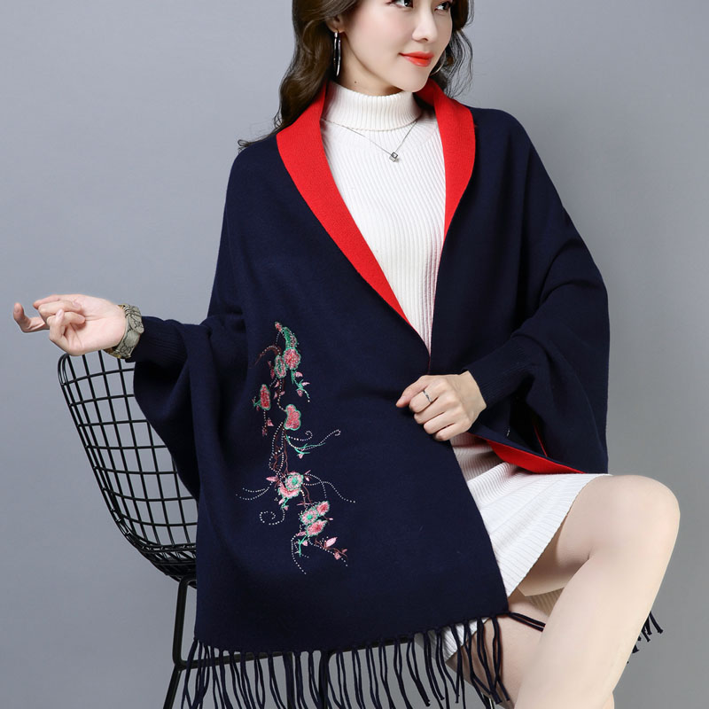 Batwing Coat Shawl Female Coat Autumn Winter Long Tassels With Sleeves Cloak Shawls Embroidered Joker Thickening
