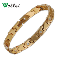 Wollet Jewelry Health Healing Austrian Crystal 316l Stainless Steel Tungsten Magnetic Bracelet For Women Gold Color Bracelet