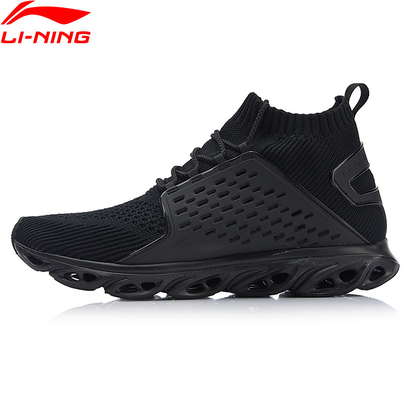 Li-Ning Men 2018 Arc Cushioning Running Shoes Breathable Light Weight High-Cut Sneakers LiNing Black White Sports Shoes ARHN045 цена