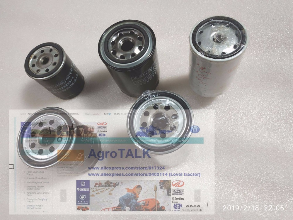 Set of filters as picture showed for Foton Lovol TB504 series tractor, see code number on each filters, part number: