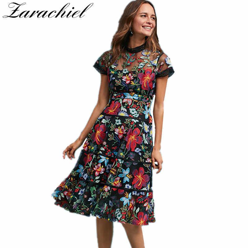 40622a73557 2019 Новое модное летнее женское винтажное платье с коротким рукавом из  тюля с цветочной вышивкой