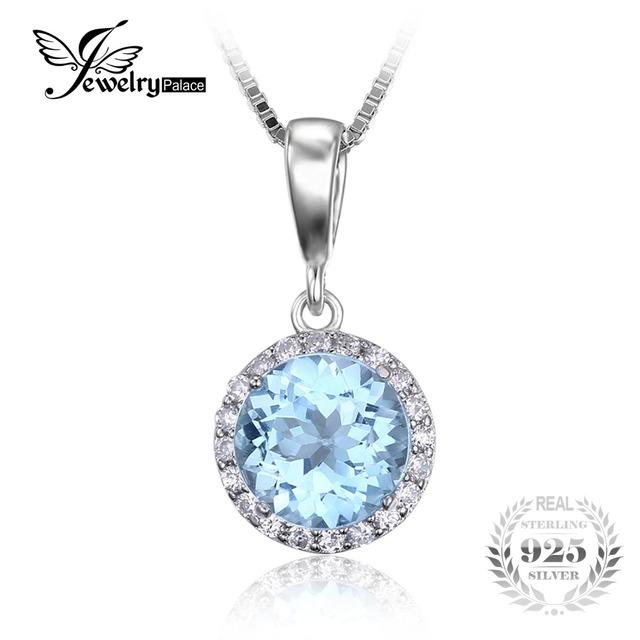 Jewelrypalace 2.7ct natural céu azul topázio branco halo solitaire colar pingente de 925 colar de jóias de prata esterlina 18 polegadas