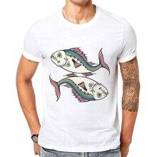 Fashion Men Clothes T-Shirt Half Sleeve Cotton Casual Tee Hipster Creative Fish Print High Quality Mens Tshirts Funny Tees Tops