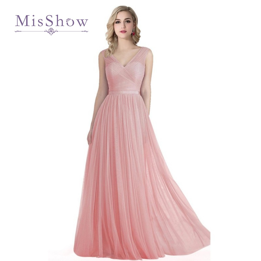 Online get cheap long dress lavender bridesmaid aliexpress real photos v neck blush pink tulle bridesmaid dresses long 2017 cheap lavender wedding party dresses ombrellifo Gallery