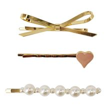 3Pcs/Set Sweet Girls Side Bangs Hair Clips Metallic Geometric Bowknot Heart Imitation Pearl Hairpins Student School Barrettes