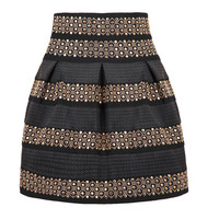 Free Shipping 2016 New Trend Polyester Women Fashion High Waist Rivet Striped Skirt One Size