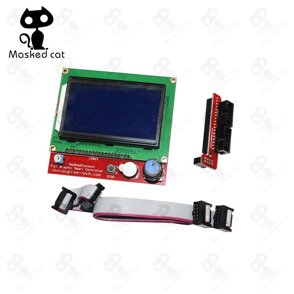 1pcs LCD 12864 Ramps Smart Parts RAMPS 1.4 Controller Control Panel LCD 12864 Display Monitor Motherboard Blue Screen Module 12864 lcd ramps parts ramps 1 4 controller control panel lcd 12864 display monitor motherboard blue screen module for anet a6