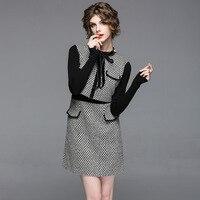2018 Spring Sweet Style Fake Two Black White Plaid Bow Dress Women Knitting Patchwork Beading Full Sleeves Mini Dresses Female
