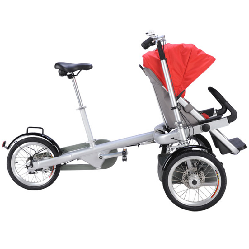 Bicycle Prams Folding Umbrella Car Fashion Mummy&Baby Bike Stroller Cute Baby Can Sit Can Lie Trolley Red Color Shipping