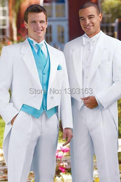 2016 Custom Design Branco Fraque Notch Lapela Do Noivo Smoking Best Man Ternos de Casamento Padrinhos Homens (Jacket + Pants + colete + Gravata)