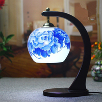 Decorative Floral Porcelain Lampshade Table Lamp Vintage Ceramic Wood Base Living Room Bedroom 110 220V Desk