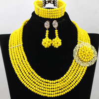 Lovely Yellow Dubai Costume Women Jewelry Set 6 Rolls Crystal Braidsmaid Necklace Set for Lady Free Shipping WA686