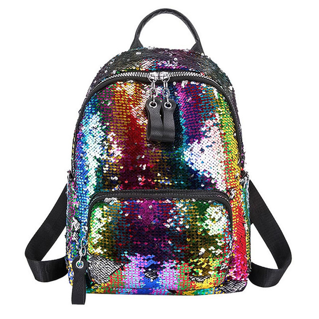 2019 Hot Sale Women Sequin Hit Color School Bag Backpack Student Satchel Travel Shoulder Bag Student Casual Style Small Bag  10