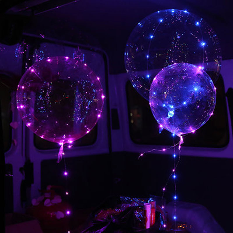New 1psc18-inch transparent Bobo birthday party decoration wedding layout LED lantern glow line balloons toy balloon