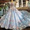 Vestido De Festa Appliques Blue Lace Gown Lace Evening Dresses Real Photos Ball Gown 3D Flowers