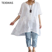 HOT 6XL Classic Explosion White Large Size Female Shirt Loose Short Sleeve Lady Long Shirts