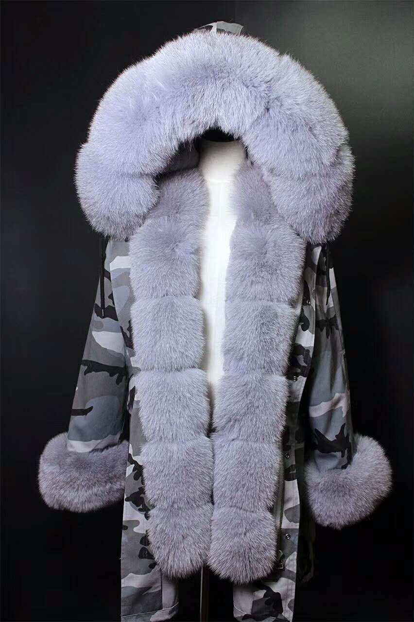 2017 winter new women's  fashion luxury fox fur collar GREY rex rabbit  lining coat nick garment middle long parka hoodies 2017 winter new clothes to overcome the coat of women in the long reed rabbit hair fur fur coat fox raccoon fur collar
