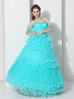 AQ001 Sexy Baby Blue Quinceanera Dress 2018 Charming Sweetheart Beaded Ruffle Tiered Lace Up Corset Ball Gown Dress for 15 years