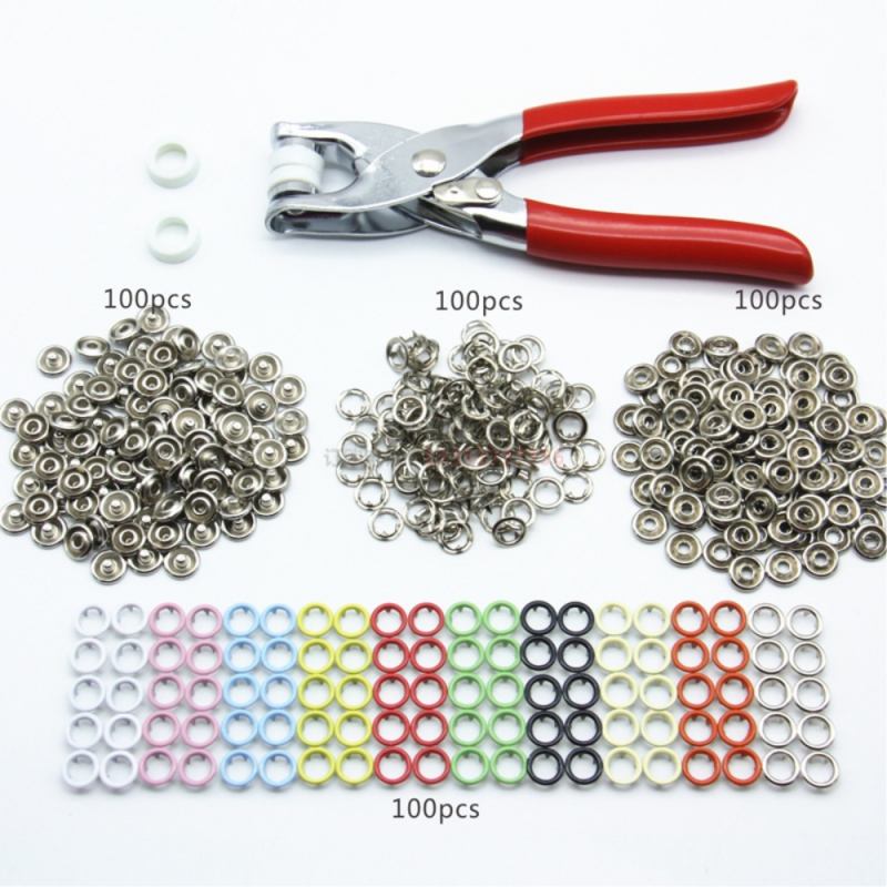100 Sets 10 Colors Metal Sewing Buttons Prong Ring Press Studs Snap Fasteners + Clip Pliers 9.5mm