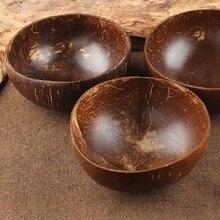 Натуральная чашка в виде кокоса украшения фруктовый салат лапша, рис чаша деревянная фруктовая чаша ремесленное украшение креативная миска из скорлупы кокоса