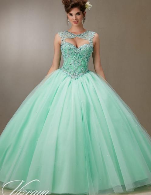 Vestidos Quinceanera baratos doce 16 princesa vestidos De hortelã verde azul branco Quinceanera vestidos on line 2016 Vestido De baile Vestido De 15