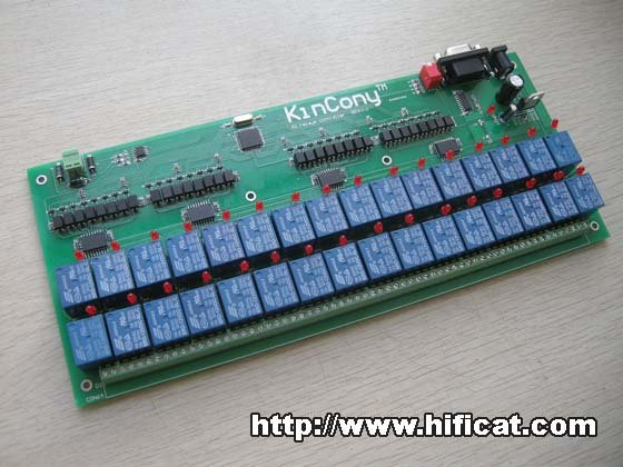 32-Relay with opto-isolation RS232 RS485 PC Serial Port controller extension isolation