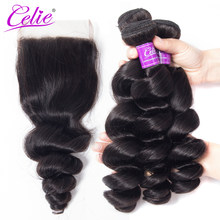 Celia Hair Bundles With Closure Natural Color Peruvian Hair Bundles With Closure Remy Human Hair Loose Wave Bundles With Closure(China)