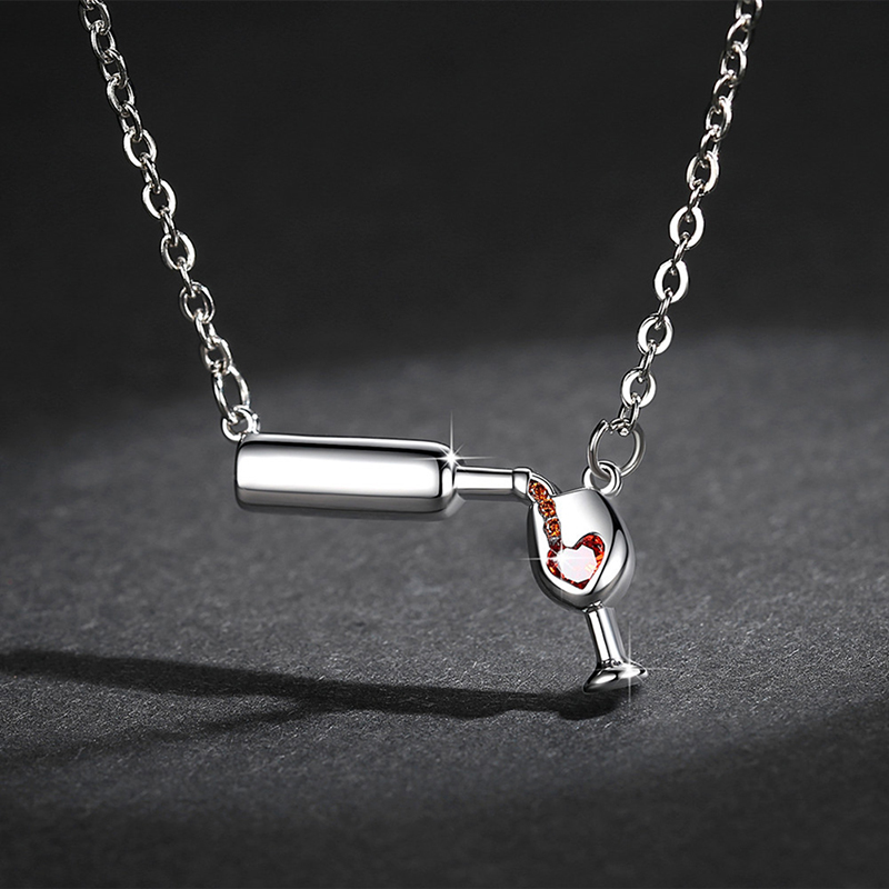 Womens Fashion Wine Glass Crystal Rhinestone Heart bottle cup Pendant Necklace Jewelry in Pendants from Jewelry Accessories