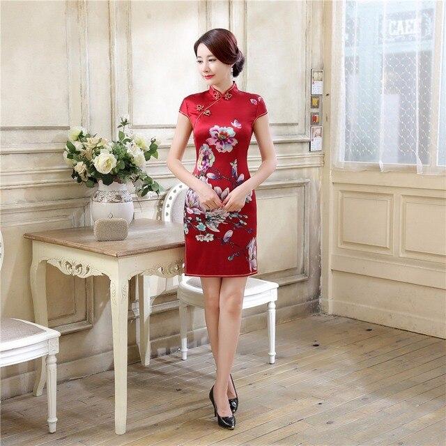 Shanghai Story Top-grade cheongsam Silk chinese tradition vestidos Floral cheongsam dress Red Short Qipao