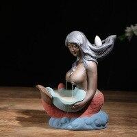 WINZSC Tea Scented Sandalwood Mermaid Stove Ceramic Censer Backflow Incense Burner LW56226PY