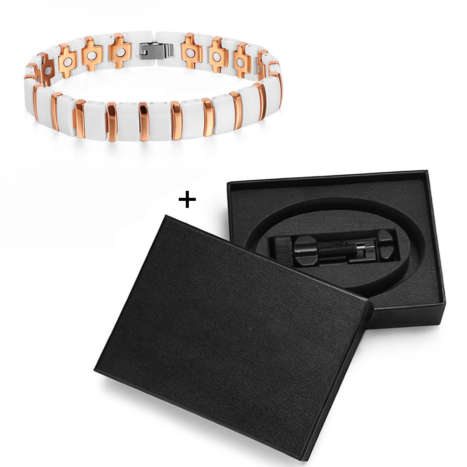 Image 5 - WelMag Magnet Bracelet Ceramic Rose Gold Charm Bracelets Bangles Accessories for Women Fashion Magnetic Health Care Wristband-in Charm Bracelets from Jewelry & Accessories