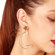 Fashion Womens Jewelry Personality Earrings Copper Cast Geometry Star Moon Dropping Gift Wholesale