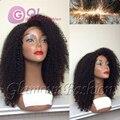 180 densidad Afro rizado peluca rizada 100% cabello humano brasileño rizado rizado peluca llena del cordón y sin cola pelucas delanteras del cordón negro women